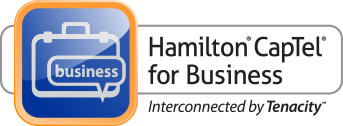 Hamilton CapTel for Business Telephone, Interconnected by Tenacity Logo