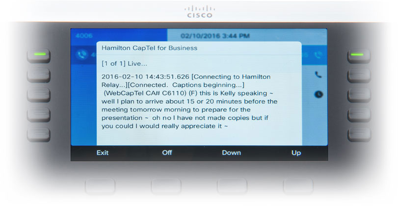 Hamilton CapTel for Business Touchscreen